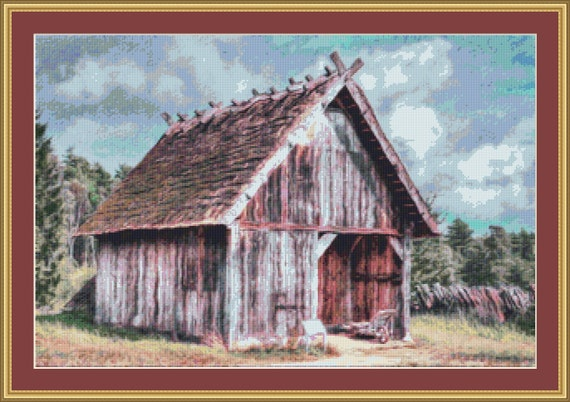 Wooden Shed Cross Stitch Pattern /Digital PDF Files /Instant downloadable
