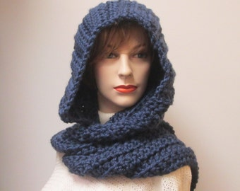 Navy Blue Hooded Scarf, Crochet Hoodie Scarf, Long Scarf with Hood, Gift for Women, Oversized Scarves, Gift for Her, Elizabeth B5-049