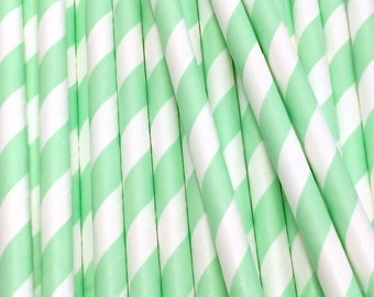 25 Mint Green and White Diagonal Stripe Paper Drinking Straws - Party Decor Supplies Tableware