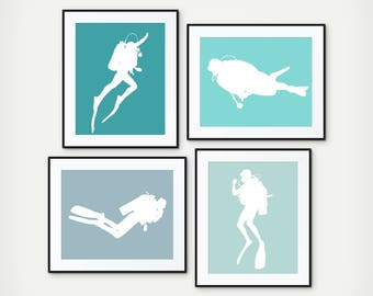 Scuba Diver Gift, Scuba Diver Print, Scuba Diver Art, Vacation Home Decor