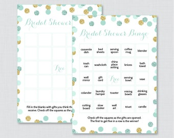 Mint and Gold Bridal Shower Bingo Printable - 60 Unique Pre-filled Bingo Cards AND Blank Cards - Mint and Gold Glitter Bridal Bingo 0001-M