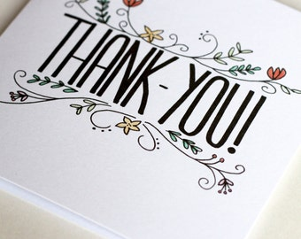 Floral Illustrated Thank-You Card