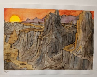 Canyon Sunset --  Original Watercolor