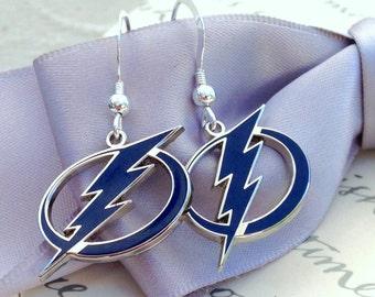 Lightning Bolt earrings licensed Tampa Bay Lightning Hockey charms
