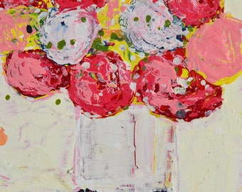 Pink & Yellow Flower Painting Print. Cottage Chic Floral Art. Housewarming Gift for Bestie. 156