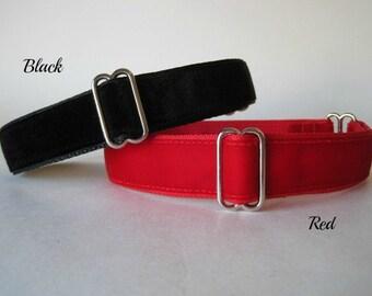 Dog Tag Collar, Velvet Dog Tag Collar, 1 inch Dog Tag Collar, Velvet Dog Collar, Greyhound Dog Tag Collar
