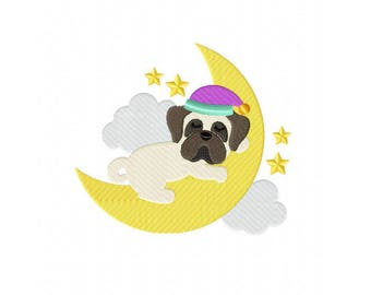 Sleeping goodnight moon bulldog dog puppy machine embroidery design