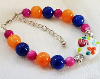 Women bracelet, romantic, multicolored, Lampwork Glass Bead and thin, orange, cobalt blue and dark purple stone, gift for mother of day