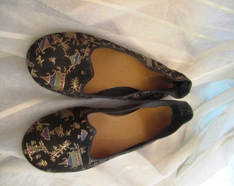 Vintage Pair of Satin Brocade Asian Slippers, ca 1940s