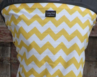 Baby Sling-ORGANIC COTTON Baby Wrap Sling Carrier-Yellow Chevron on Gray-One Size Fits All-Newborn to Toddler-DvD Included