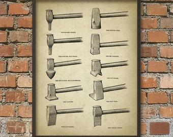 Blacksmith Antique Illustration #4 - Blacksmith Equipment - Blacksmith Hammers - Metalworker - Forging - Metallurgy - Blacksmith Gift Idea