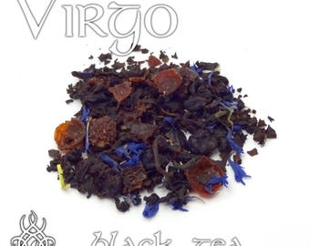 Virgo Loose Leaf Tea - loose leaf black tea, blueberry tea, zodiac sign virgo, astrology sign tea, birthday gift, star sign, dessert tea