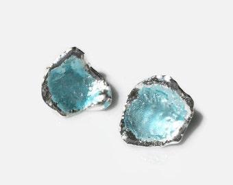 Silver enamel post earrings in opalescent blue, blue earrings, enamel earrings, small post earrings, blue enamel, ocean earrings, organic