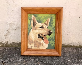 vintage german shepherd dog paint by number framed PBN painting art