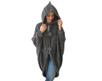 Hooded Pelerine, Hooded Poncho, Hooded Long Cape, Outwear