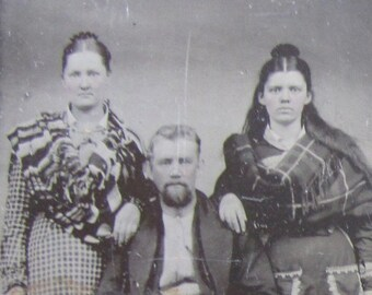 Family Portrait - Original 1870's Family Photo Tintype Photograph - Free Shipping