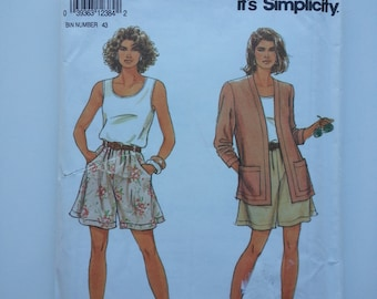 Dress shorts/ Long / loose / 90s /cardigan /Pleated shorts / vintage 1992 sewing pattern, Sizes 6 8 10 12 14 16 18 20 22 24, Simplicity 7778