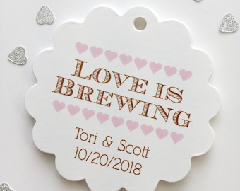 Love Is Brewing Favor Tags, Tea Coffee Wedding Favor Tags, Wedding Hang Tags  (SC-205)