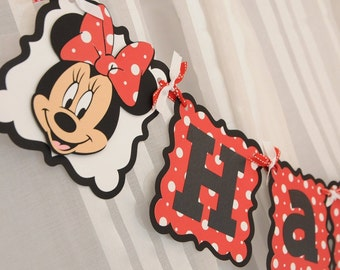 Minnie Mouse Customized Age themed Happy Birthday Banner. Colors can be Customized