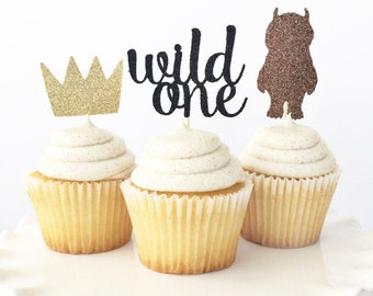 ORIGINAL Where The Wild Things Are Cupcake Toppers / Wild One 1st Birthday / Wild Thing / Boy First Birthday / Crown Cupcake Toppers