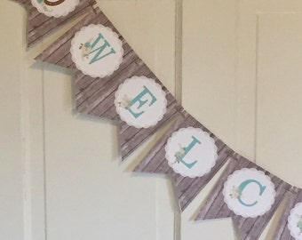 RUSTIC CHIC HORSE Happy Birthday or Baby Shower Banner - Party Packs Available