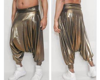 Gold Metallic Harem Dropped Crotch Pant Boho Gypsy Yoga Pants