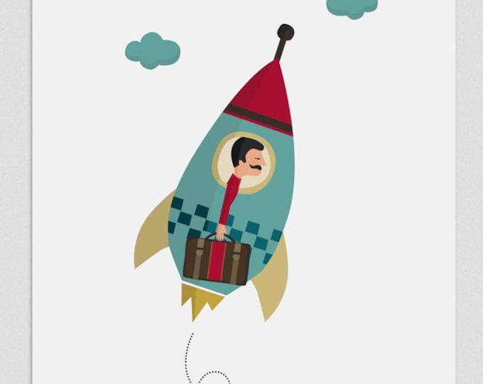 """Ilustración """" El hombre del cohete """"."""