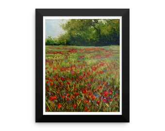 Farm field of wildflowers and poppies Framed photo paper poster