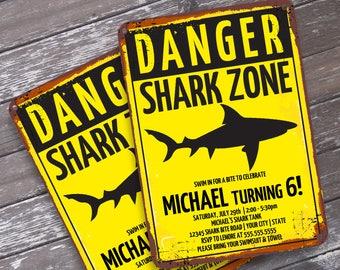 Shark Party Invitation - Shark Birthday Party, Shark Zone Invite, Invitation with Editable Text | DIY INSTANT Download PDF Printable