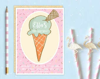 Girls Ice Cream Cone Invite | Sweet Candy Shop | Birthday Party Invitation | Digital Download | Printable Personalised Customised