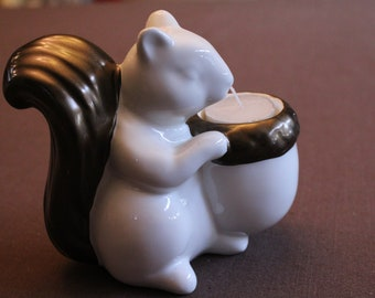 "Vintage Squirrel Votive Candleholder, 5"" Tall, Mint Condition"