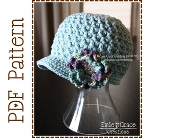 Crochet Newsboy Hat Pattern, Chunky Cap w/ Flower, ADDISON - pdf 206