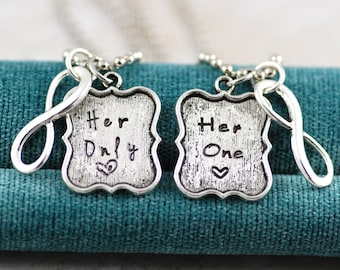 Her One Her Only - Hand Stamped Couples Necklace Pendants or Keychain Set - Gift for Lesbian Gay Couples girlfriend wife wedding engagement