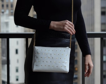 SALE!- Leather Cross-Body Bag, White Leather Crossbody, Studded Leather Handbag, White Wedding Bag, Chain Strap Handbag, Wedding Clutch Bag