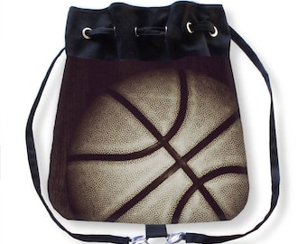Basketball Cinch Bag-Basketball Backpack-Canvas Cinch Sack-Drawstring Purse-Messenger Bag-Cinch Bag-Basketball Cinch Sack-Cross Body Bag