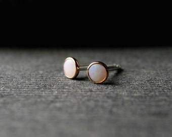 Tiny bezel set rose gold and Australian opal studs 3mm