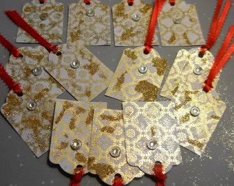 Gold Gift Tags, Fancy Tags, 10 Gift tags Favor tags Christmas Holiday New Years Thank You Wedding Gift Tags, Kathleen Leasure