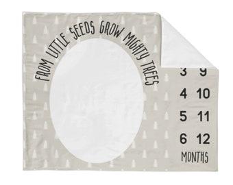 Monthly Milestone Blanket Tan Tree - Crib Blanket - Baby Blanket - Tree Baby Blanket - Monthly Counter Blanket - Neutral Baby Gift