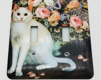 White Cat and Flowers Double Toggle Metal Switch Plate Cover