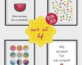 Set of prints, Kids room decoration, Kids wall art, Set of 4 posters, Colorful set of posters, Watermelon, Ice-cream, Polka dot, cool prints