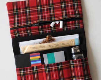 Black Dreherbeutel Drehertasche Tobacco bag plaid Red