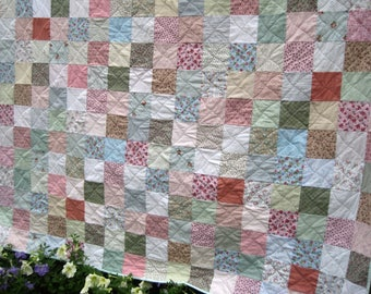 King Size Quilt, Queen Size Quilt, Patchwork Quilt, Pastel Cottage Chic, Traditional Farmhouse Decor, Wedding Gift, Made to Order