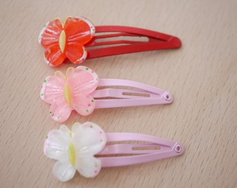 2x Butterfly hair clips