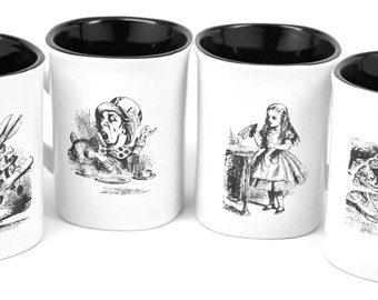 Alice in Wonderland Mug Set-Set of Four with Alice, Mad Hatter, White Rabbit & Cheshire Cat-Engraved on Both Sides