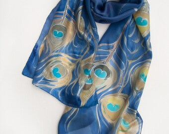 Peacock feathers silk scarf Hand painted scarves Olympian blue shawl Silk scarves painted Luxury scarf Women fashion scarf Handmade gifts