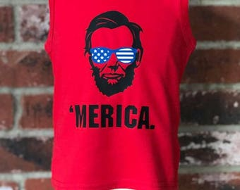 MERICA Abe Shades Tee ADULT -- Patriotic, July 4th, Independence Day, President, Sunglasses Tee