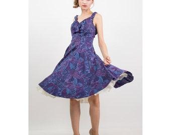 ALIX of MIAMI / 1950s dress / Vintage cotton sundress / Bright floral print S M