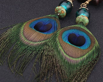 Peacock earrings, Hand Beaded, Dangle Earrings