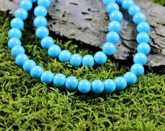 Vintage inspired glass beads necklace sky Blue