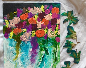 "A little different, a little floral  8""x5"" canvas panel, original floral impressionist acrylic painting"